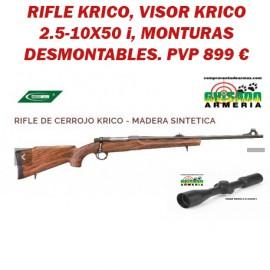 Conjunto de rifle Krico con visor y monturas.