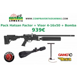 Pack Carabina PCP Hatsan Factor + Visor + Bomba
