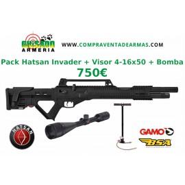 Pack Carabina PCP Hatsan Invader + Visor + Bomba